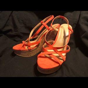 H&M Wedge Coral Red Orange Strap Heels